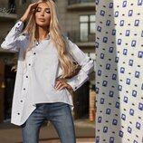 Очень стильная Белая рубашка диагональ в мелкие квадратики