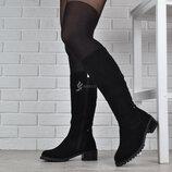 100% натуралка Сапоги женские зимние замшевые натуральный мех высокие Fiore Украина черные