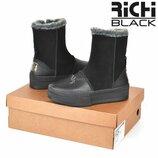 100% натуральные Угги женские кожаные Richi Black на платформе натуральный мех черные