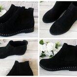 Женские черные ботинки, челси Натуральная кожа,замш Материал, цвет, сезон на выбор