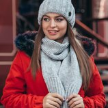 стильный комплект зима, шапка и шарф,цвета