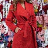 Пальто букле, подкладка, красный, К-58470Деми, Размеры 42,44,46.
