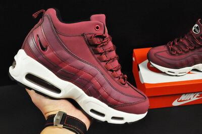 Зимние кроссовки Nike Air Max 95 Sneakerboot бордовые