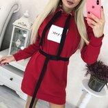 Теплое спортивное платье туника худи с капюшоном трехнитка на флисе скл.1 арт. 59639
