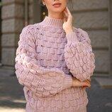 Теплый вязаный турецкий свитер с узорной фактурой нить марс скл.1 арт.59660