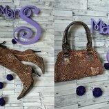 Набор женский сапожки и сумка леопардовый принт