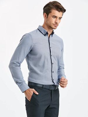 Синяя мужская рубашка LC Waikiki / Лс Вайкики с синей окантовкой на воротнике и синими пуговицами