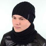 Теплая мужская шапка и хомут, цвет