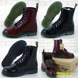 Зимние женские ботинки Dr.Martens. Доктор Мартенс. Black, Bordo