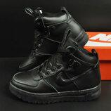 подростковые зимние ботинки Nike Lunar Force 1 черные 36-41р