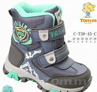 Зимние термоботинки на мальчика Том.м сопожки термо Tom.m сноубутсы зимові черевики на хлопчика