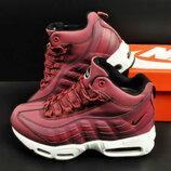 женские зимние ботинки Nike Air Max 95 Sneakerboot бордовые