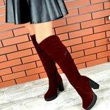 Кс220377Д Демисезонные женские замшевые ботфорты марсала на каблуке