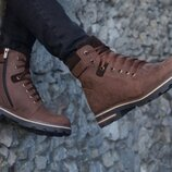 Коричневые зимние мужские ботинки на змейке, натуральная кожа