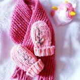 Няшный/зимний/вязаный комплект/шарфик с варежками H&M/Zara/Next 2-3/3-4г.