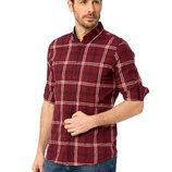 Бордовая мужская рубашка LC Waikiki / Лс Вайкики в белую и черную клетку с карманом на груди