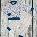 Пижама трикотажная теплая с манжетами на баечке с начесом Звезды начес 80-86-92-98-104-110-116-122