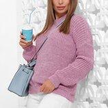 Стильный, удобный однотонный вязаный свитер кофта джемпер. Есть цвета