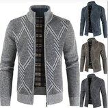 Мужская модная вязаная флисовая куртка - кофта, 4 цвета