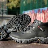 Подростковые кожаные зимние прошитые ботинки на меху не дорого , высокий протектор