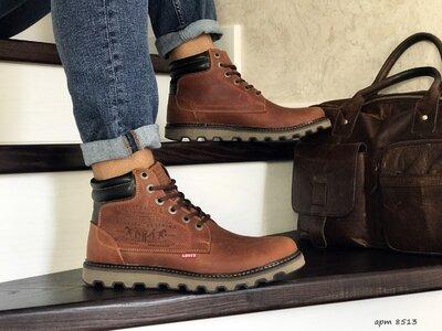 Зимние мужские ботинки Levis brown, натур. кожа