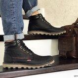 Зимние мужские ботинки 8516 Levis black, натур. кожа