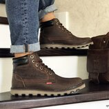Зимние мужские ботинки Levis темно коричневые, натур. кожа