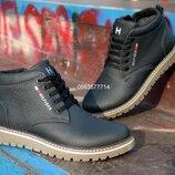 Мужские кожаные зимние ботинки молния , толстая кожа, теплый мех,
