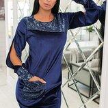 Бархатное платье с открытыми рукавами, до 56 размера
