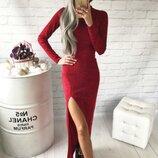 Тёплое классическое платье Ангора- софт с разрезом в пол от рр40 по рр48