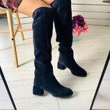 Вт5563318Ез Синие зимние замшевые ботфорты женские на каблуке