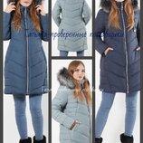 48-62 Теплая куртка с капюшоном. мехом. Зимняя женская куртка, Куртки большого размера