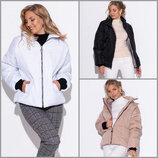 Дутая куртка oversize осень зима с высоким воротом 3 цвета