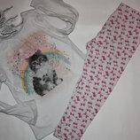 Котоновая пижама с красивым принт ф.F&F для девочки3/4 лет, р-104