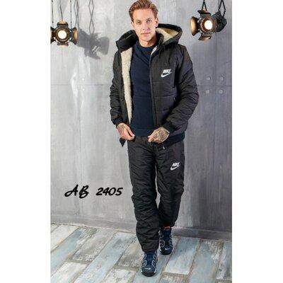 Мужской зимний спортивный костюм на меху и синтепоне Александр черный, синий