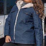 Куртка зимняя батал джинс, меховая овчина, К-59413, Размеры 48-50,52-54,56-58.