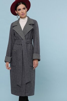 Пальто П-347-110 темно-серое шерстяное пальто, Размерная сетка 48, 50, 52, 54 .