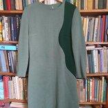 Вязаный теплый костюм-комплект/платье-футляр и пальто-кардиган/ цвет олива