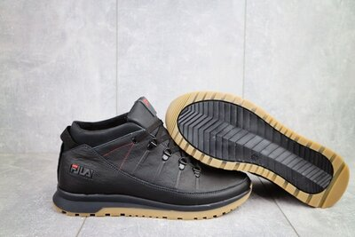 Зимние мужские ботинки Fila, черные натур. кожа