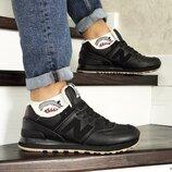 Зимние мужские кроссовки New Balance 574 black 8522
