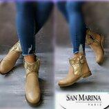 37-38р Кожа Новые Франция San marina ,бежевые ботинки,полусапожки