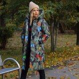 Зимнее пальто в цветной принт синтипон 300 очень тёплое