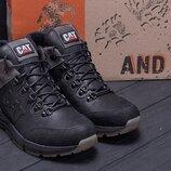 Зимние кожаные ботинки cat черн.бот