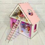 Домик для LOL. Домик для маленьких кукол Лол 2110 с обоями, шторками, мебелью, текстилем, лестницей