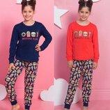 Пижама для девочек 9-16 лет лонгслив и брюки с манжетами
