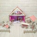 Домик для LOL. Домик для маленьких кукол Лол 2111 с обоями, шторками, мебелью, текстилем, лестницей