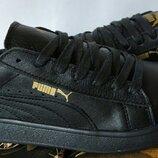 Puma classic Мужские кроссовки кеды натуральная кожа черного цвета Пума классик