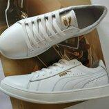 Puma classic Мужские кроссовки кеды натуральная кожа белого цвета Пума классик