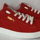 Puma classic Мужские кроссовки кеды натуральный нубук красного цвета Пума классик