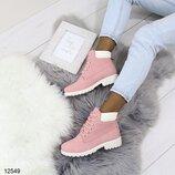 Женские ботинки на шнурках демисезонные белые,розовые и коричневые